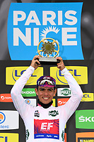 14th March 2020, Paris to Nice cycling tour, final day, stage 7;   HIGUITA GARCIA Sergio Andres (COL) of EF PRO CYCLING pictured with the white jersey during the final podium ceremony after stage 7 of the 78th edition of the Paris - Nice cycling race, a stage of 166,5km with start in Nice and finish in Valdeblore La Colmiane on March 14, 2020 in Valdeblore La Colmiane, France