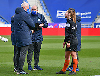 head coach Guido Brepoels of KRC Genk, team representative Alain Pereira Batista of KRC Genk and referee Jana Van Laere pictured during a female soccer game between  Racing Genk Ladies and SV Zulte-Waregem on the 18 th and last matchday before the play offs of the 2020 - 2021 season of Belgian Scooore Womens Super League , saturday 27 th of March 2021  in Genk , Belgium . PHOTO SPORTPIX.BE | SPP | JILL DELSAUX