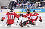 Sochi, RUSSIA - Mar 15 2014 - Billy Bridges and Adam Dixon celebrate a goal as Canada takes on Norway in the Bronze Medal Sledge Hockey game  at the 2014 Paralympic Winter Games in Sochi, Russia.  (Photo: Matthew Murnaghan/Canadian Paralympic Committee)