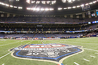 BCS Championship Logo is pictured on the field before BCS National Championship game at Mercedes-Benz Superdome in New Orleans, Louisiana on January 9th, 2012.   Alabama defeated LSU, 21-0.