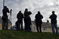 2016 12 03 Bird watchers from around the country gather to watch rare masked wagtail, Wales, UK