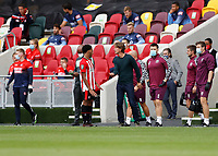 6th September 2020; Brentford Community Stadium, London, England; English Football League Cup, Carabao Cup, Football, Brentford FC versus Wycombe Wanderers; Brentford Manager Thomas Frank talking to Dominic Thompson of Brentford from the touchline