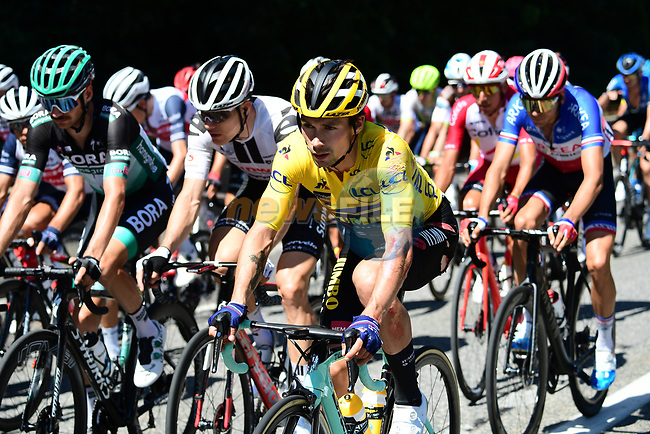 Race leader Primoz Roglic (SLO) Team Jumbo-Visma bruised and scraped after taking a fall during Stage 4 of Criterium du Dauphine 2020, running 157km from Ugine to Megeve, France. 15th August 2020.<br /> Picture: ASO/Alex Broadway | Cyclefile<br /> All photos usage must carry mandatory copyright credit (© Cyclefile | ASO/Alex Broadway)