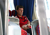 Wednesday 28 August 2013<br /> Pictured: Swansea manager Michael Laudrup in the team coach upon his arrival to Bucharest Airport in Romania.<br /> Re: Swansea City FC arrive to Romania for a press conference and training session, a day before their UEFA Europa League, play off round, 2nd leg, against Petrolul Ploiesti in Romania.