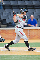 Andrew Amaro (5) of the Maryland Terrapins follows through on his swing against the Wake Forest Demon Deacons at Wake Forest Baseball Park on April 4, 2014 in Winston-Salem, North Carolina.  The Demon Deacons defeated the Terrapins 6-4.  (Brian Westerholt/Four Seam Images)
