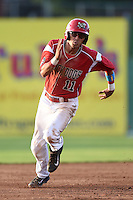 Batavia Muckdogs shortstop Aaron Blanton (11) running the bases during a game against the Jamestown Jammers on July 25, 2014 at Dwyer Stadium in Batavia, New York.  Batavia defeated Jamestown 7-2.  (Mike Janes/Four Seam Images)