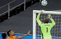 CARSON, CA - OCTOBER 28: Kenneth Vermeer #1 of the Los Angeles FC parries a ball over the crossbar during a game between Houston Dynamo and Los Angeles FC at Banc of California Stadium on October 28, 2020 in Carson, California.