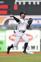 Tampa Yankees second baseman Angelo Gumbs (21) throws to first during a game against the Lakeland Flying Tigers on April 5, 2014 at Joker Marchant Stadium in Lakeland, Florida.  Lakeland defeated Tampa 3-0.  (Mike Janes/Four Seam Images)