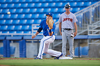 Dunedin Blue Jays first baseman Kacy Clemens (22) waits to receive a throw during a game against the Jupiter Hammerheads on August 14, 2018 at Dunedin Stadium in Dunedin, Florida.  Jupiter defeated Dunedin 5-4 in 10 innings.  (Mike Janes/Four Seam Images)