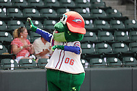 Mascot Reedy Rip'It of the Greenville Drive waves to fans before a game on Sunday, July 13, 2014, at Fluor Field at the West End in Greenville, South Carolina. (Tom Priddy/Four Seam Images)