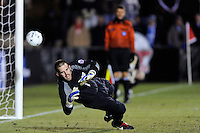 North Carolina Tar Heals goalkeeper Brooks Haggerty (1) dives the wrong way during the penalty kick shootout. The Akron Zips defeated the North Carolina Tar Heals 5-4 in penalty kicks after playing a scoreless game during the second semi-final match of the 2009 NCAA Men's College Cup at WakeMed Soccer Park in Cary, NC on December 11, 2009.