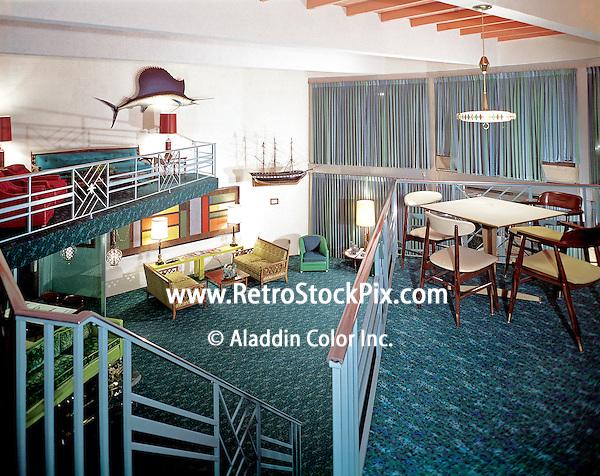 Jolly Roger Motel, Wildwood, NJ. Two story lobby. 1960's