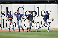 September 10, 2009: Players for the Burlington Bees ham it up before a game. The Bees are the Midwest League affiliate for the Kansas City Royals. Photo by: Chris Proctor/Four Seam Images