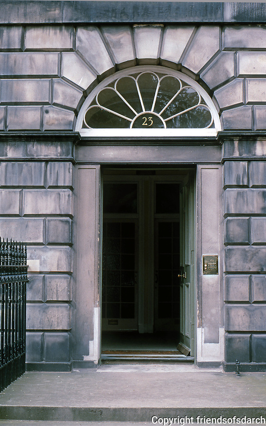 Edinburgh: Moray Place, No. 23. Glass pediment over door entrance. Photo '87.