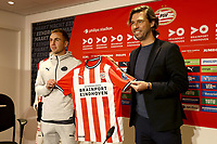 8th October 2020, Philips Stadium, Eindhoven, Netherlands; PSV introduce new signing Mario Gotze;  PSV player Mario Gotze during the presentation with John de Jong  Sport director Eindhoven