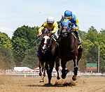 Always a Suspect, wins race one on July 21 at Saratoga Race Course, Saratoga Springs, NY.  Ridden by Joel Rosario and trained by Brian Lynch, dueled Forge in deep stretch and won by a neck.  (Bruce Dudek/Eclipse Sportswire)
