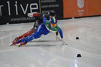 SPEEDSKATING: DORDRECHT: 05-03-2021, ISU World Short Track Speedskating Championships, Heats 500m Men, Pietro Sighel (ITA), Maxime Laoun (CAN), ©photo Martin de Jong