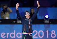 SCHAATSEN: AMSTERDAM: Olympisch Stadion, 09-03-2018, WK Allround, Coolste Baan van Nederland, podium 3000m Ladies, Ireen Wüst (NED), ©foto Martin de Jong