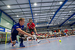 GER - Mannheim, Germany, December 13: During the 1. Bundesliga Sued Herren indoor hockey match between Mannheimer HC (blue) and TSV Mannheim (red) on December 13, 2018 at Irma-Roechling-Halle in Mannheim, Germany. Final score 5-7. (Photo by Dirk Markgraf / www.265-images.com) *** Local caption ***