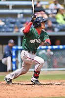 Greenville Drive shortstop Tzu-Wei Lin #36 swings at a pitch during a game against the  Asheville Tourists at McCormick Field on May 18, 2014 in Asheville, North Carolina. The Tourists defeated the Drive 3-1. (Tony Farlow/Four Seam Images)