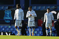 9th January 2021; Goodison Park, Liverpool, Merseyside, England; English FA Cup Football, Everton versus Rotherham United; Andre Gomes of Everton walks out before the kick off with team mates Cenk Tosun  and James Rodriguez