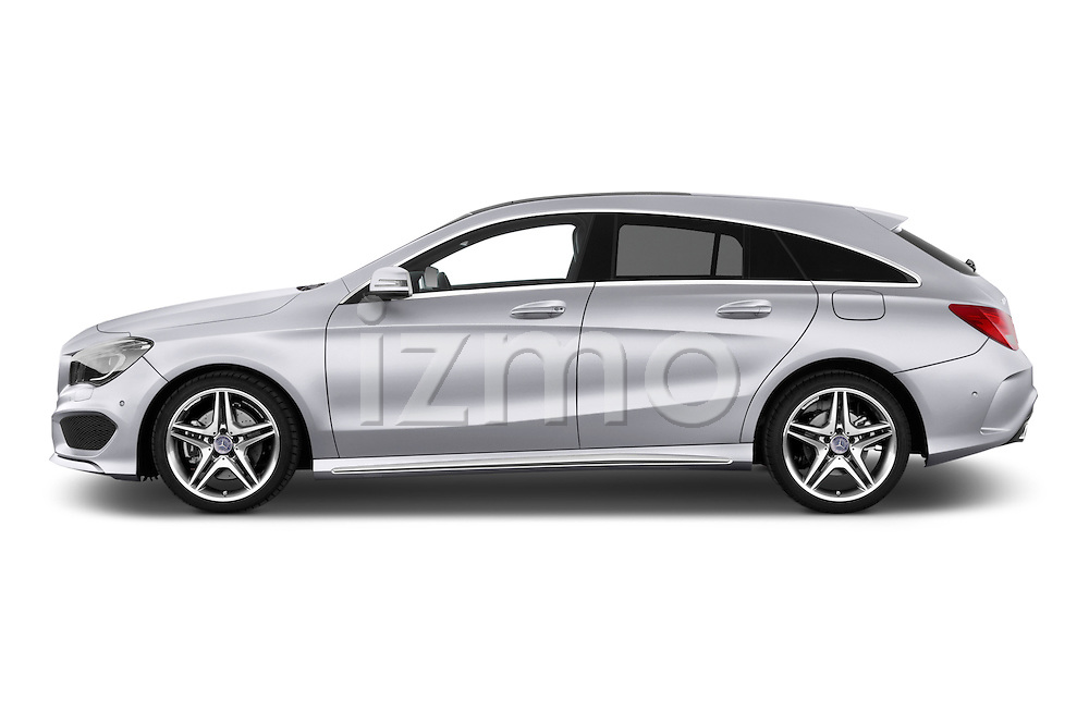 Car driver side profile view of a 2015 Mercedes Benz CLA Class 220 AMG line 5 Door Wagon