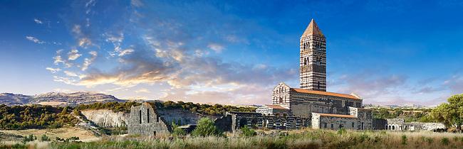 Picture and image of the exterior of the Tuscan Romanesque Pisan style basilica of Santissima Trinita di Saccargia, consecrated 1116, Codrongianos, Sardinia. Panorama