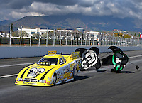 Feb 11, 2017; Pomona, CA, USA; NHRA funny car driver Jim Campbell during qualifying for the Winternationals at Auto Club Raceway at Pomona. Mandatory Credit: Mark J. Rebilas-USA TODAY Sports