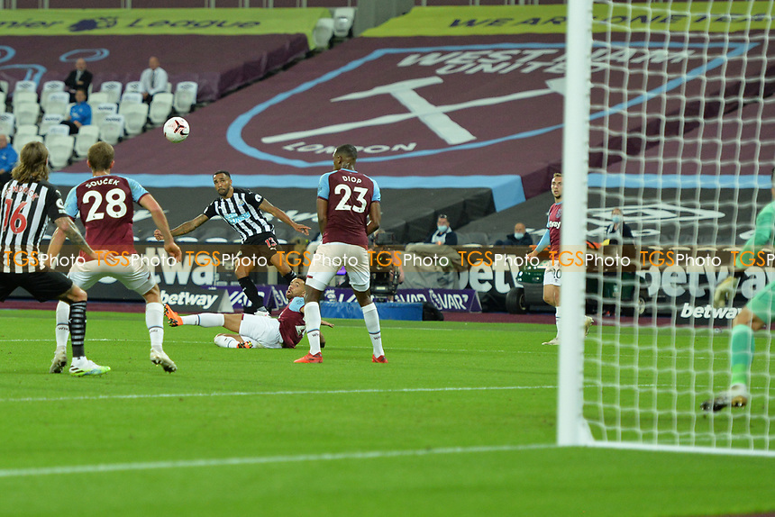 Callum Wilson of Newcastle United shoots wide during West Ham United vs Newcastle United, Premier League Football at The London Stadium on 12th September 2020