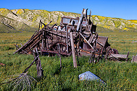 A derelict harvester from the 1940's slowly succumbs to the elements on the Carrizzo Plain at Carrizo Plain National Monument in California