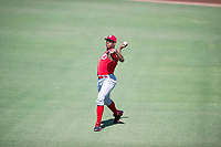 Cincinnati Reds pitcher Hunter Greene (21) warms up in the outfield prior to an Instructional League game against the Kansas City Royals October 2, 2017 at Surprise Stadium in Surprise, Arizona. (Zachary Lucy/Four Seam Images)
