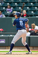 Tim Ferguson (8) of the Wilmington Blue Rocks at bat against the Winston-Salem Dash at BB&T Ballpark on April 21, 2013 in Winston-Salem, North Carolina.  The Blue Rocks defeated the Dash 5-3.  (Brian Westerholt/Four Seam Images)