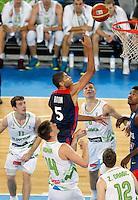 "Nicolas Batum of France (C) in action during European basketball championship ""Eurobasket 2013"" quarter-final basketball game between Slovenia and France in Stozice Arena in Ljubljana, Slovenia, on September 18. 2013. (credit: Pedja Milosavljevic  / thepedja@gmail.com / +381641260959)"