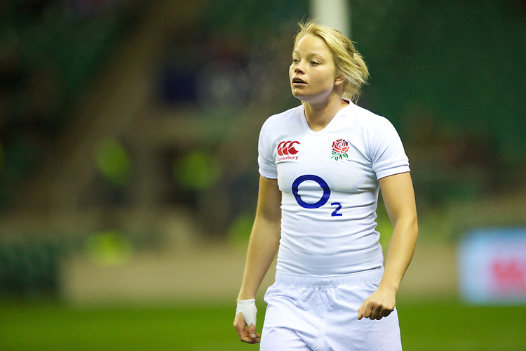 Francesca Matthews of England Women during the test match between England Women and the Black Ferns at Twickenham on Saturday 01 December 2012 (Photo by Rob Munro)