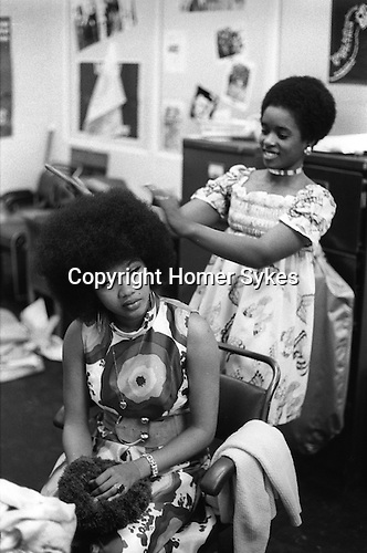 Bob and Marcia. Young Gifted and Black, their first British tour 1970s UK. Boston Lincolnshire. They appeared at the Boston Gliderdrome. <br /> Marcia Griffiths.