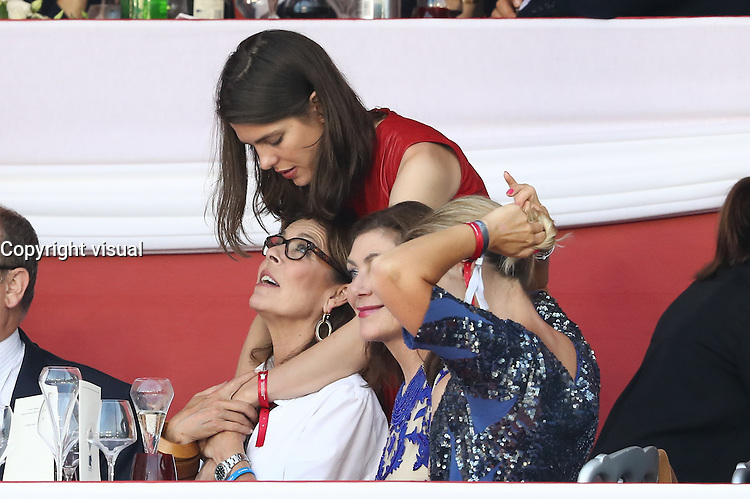 --- NO TABLOIDS NO SITE --- Monaco Princely Family attends the 'Grand Prix du Prince' at the Longines Global Champions Tour of Monaco. H.R.H. Princess Caroline of Hanover and daughter Charlotte Casiraghi.