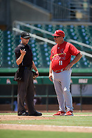 Palm Beach Cardinals manager Dann Bilardello (11) talks with home plate umpire Tanner Dobson during a game against the Jupiter Hammerheads on August 5, 2018 at Roger Dean Chevrolet Stadium in Jupiter, Florida.  Jupiter defeated Palm Beach 3-0.  (Mike Janes/Four Seam Images)