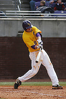 East Carolina University Pirates infielder Corey Thompson #10 at bat during a game against the Stony Brook Seawolves  at Clark-LeClair Stadium on March 4, 2012 in Greenville, NC.  East Carolina defeated Stony Brook 4-3. (Robert Gurganus/Four Seam Images)