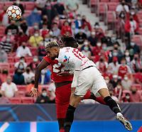 14th September 2021; Sevilla, Spain: UEFA Champions League football, Sevilla FC versus RB Salzburg; En-Nesyri of Sevilla climbs high to win a header on goal