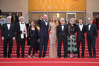 Director of the festival Thierry Fremaux, Director of photography Vittorio Storaro, guest, actors Corey Stoll, Blake Lively, Director Woody Allen, actors Kristen Stewart, Jesse Eisenberg and Pierre Lescure - 69EME FESTIVAL DE CANNES 2016 - OUVERTURE DU FESTIVAL AVEC 'CAFE SOCIETY'