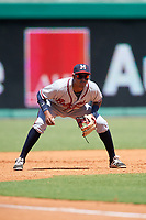 Mississippi Braves third baseman Carlos Franco (13) during a game against the Montgomery Biscuits on April 25, 2017 at Montgomery Riverwalk Stadium in Montgomery, Alabama.  Mississippi defeated Montgomery 3-2.  (Mike Janes/Four Seam Images)