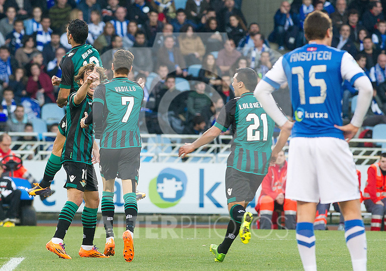 Betis' Jorge Molina, Joan Verdu, Alvaro Vadillo and Lolo Rey celebarte goal during La Liga match.November 23,2013. (ALTERPHOTOS/Mikel)
