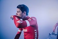 Jasper Stuyven (BEL/Trek-Segafredo) getting ready for the team presentation in the legendary 'Kuipke' velodrome<br /> <br /> Omloop Het Nieuwsblad 2018<br /> Gent › Meerbeke: 196km (BELGIUM)