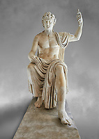Roman colossal seated staue of Augustus Caesar, white marble, late first century B.C, inv 6040, Naples National Archaeological Museum, grey art background