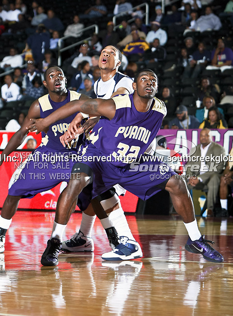 Prairie View A & M Panthers forward Demondre Chapman (32) and Prairie View A & M Panthers guard Tim Meadows (41) in action during the SWAC Tournament game between the Prairie View A & M Panthers and the Jackson State Tigers at the Special Events Center in Garland, Texas. Jackson State defeats Prairie View A & M 50 to 38.