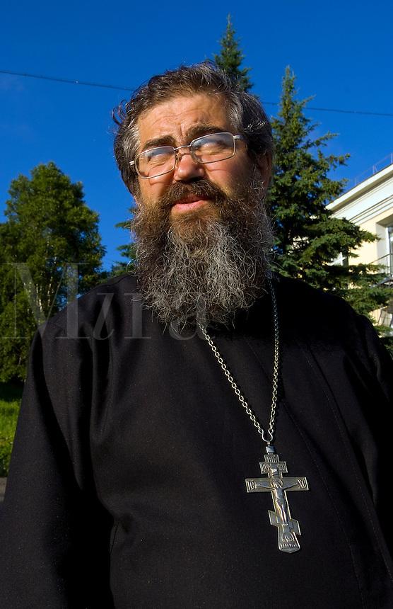 Portrait of Russian Orthodox priest, Listvyanka near  Irkutsk, Siberia, Russia