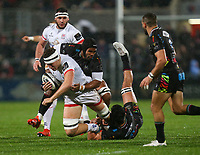 Friday 1st November 2019 | Ulster Rugby vs Zebre Rugby<br /> <br /> Matty Rea is tackled by Giovanni Licata and Renato Giammarioli during the PRO14 Round 5 clash between Ulster Rugby and Zebre Rugby at Kingspan Stadium, Ravenhill Park, Belfast, Northern Ireland. Photo by John Dickson / DICKSONDIGITAL