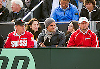 14-09-12, Netherlands, Amsterdam, Tennis, Daviscup Netherlands-Suiss, Roger Federer in the Suiss players box
