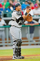 Jackson Generals catcher Ralph Henriquez #12 calls out a play during the game against the Tennessee Smokies at Smokies Park on April 13, 2012 in Kodak, Tennessee.  The Smokies defeated the Generals 4-1.  (Brian Westerholt/Four Seam Images)