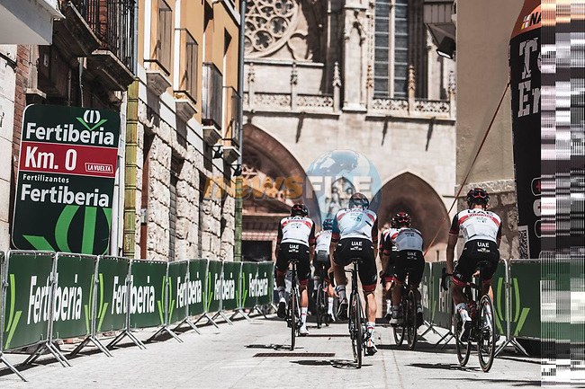 UAE Team Emirates riders recon Stage 1 of La Vuelta d'Espana 2021, a 7.1km individual time trial around Burgos, Spain. 14th August 2021. <br /> Picture: Unipublic/Charly Lopez | Cyclefile<br /> <br /> All photos usage must carry mandatory copyright credit (© Cyclefile | Unipublic/Charly Lopez)